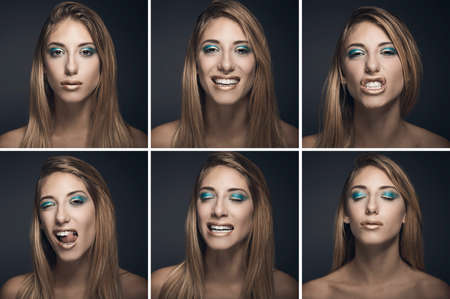 Six portraits of sexy young woman in different expressions against blue background Stock Photo