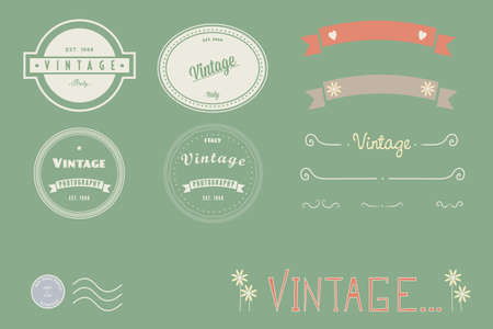 Vector series of Vintage logos, doodles and banners.