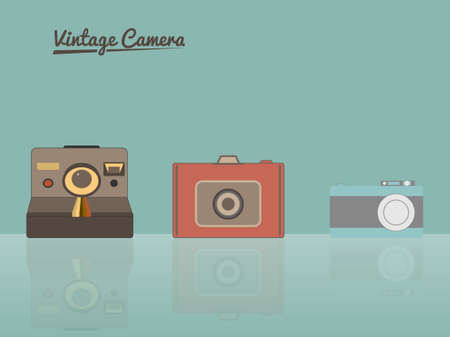 Group of vintage cameras against pastel background