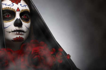 traje mexicano: Cráneo del azúcar de tiro en la cabeza