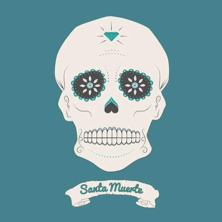 Vector illustration of a mexican skull, Day of the dead sugar skull