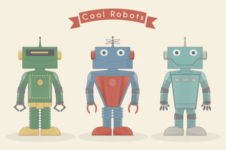 Cool vintage robots vector illustration Illustration
