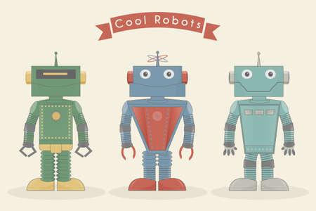 Cool vintage robots vector illustration Illustration