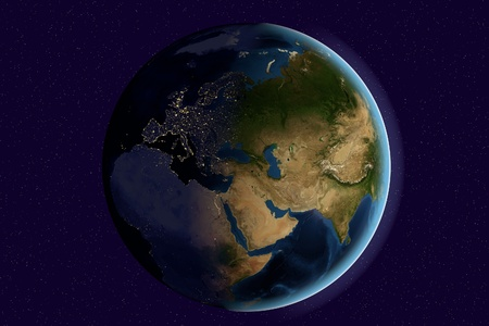 Planet Earth, the Earth from space showing India, Asia, Europe on globe in the day and night time, elements of this image furnished by NASA