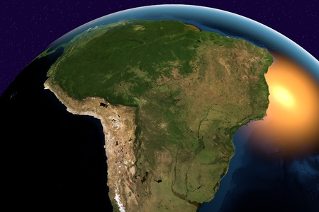 south space: Planet Earth, the Earth from space showing South America, Argentina, Bolivia, Brazil, Chile, Colombia, Ecuador, Paraguay, Peru, Uruguay, Venezuela, elements of this image furnished by NASA Stock Photo