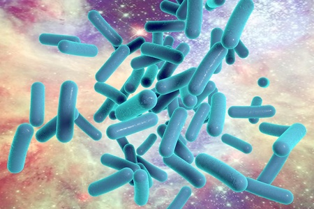 Bacterium. Microscopic view of bacterium Mycobacterium tuberculosis on colorful space background, model of bacteria, realistic illustration of microbes, microorganisms, bacterium which causes tuberculosis. Elements of this image furnished by NASA