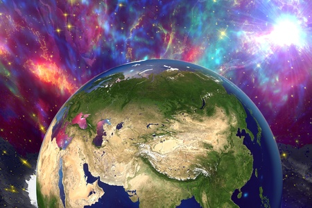 surrealistic: The Earth from space showing Russia, China, Asia on surrealistic background with stars and galaxies, elements of this image furnished by NASA, other orientations available