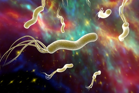 duodenal: Digital illustration of Helicobacter pylori on surrealistic space background, bacterium which causes gastric and duodenal ulcer on colorful background. Elements of this image are furnished by NASA