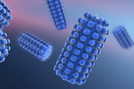 3D illustration of a rabies virus, a virus transmitted by bites of rabid animal, realistic image of microbe, microorganism, microscopic view, bullet shaped virus, RNA virus