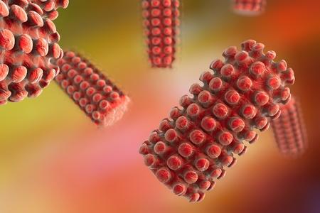 Background with viruses. Rabies virus, a virus transmitted by bites of rabid animal, realistic image of microbe, microorganism, microscopic view, bullet shaped virus, RNA virus Stock Photo - 54677153