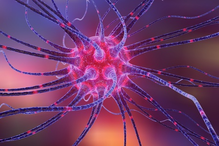 3D illustration of a neuron on colorful background, model of nervous cells, brain cells, background with neuron, nerve cell, brain cell, scientific background, medical background, healthcare background