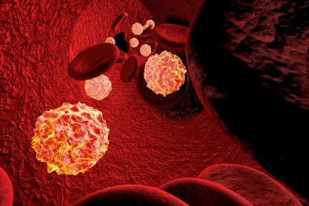 viruses: Three-dimensional drawing of viruses in blood, model of viruses on red background, background with viruses