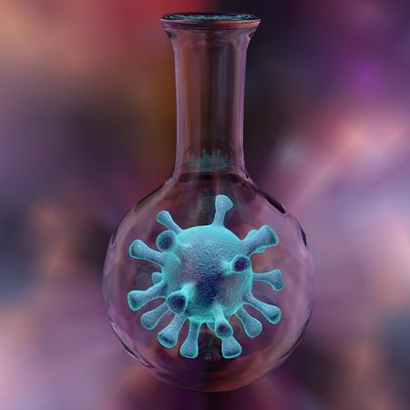 virology: Virus in a laboratory flask. Scientific background