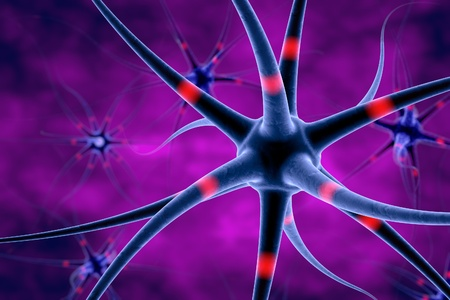 digital illustration: Digital illustration of neuron, model of nervous cell, brain cell, background with neuron, nerve cell, brain cell, scientific background, medical background, healthcare background