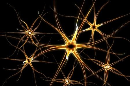 neurona: dibujo tridimensional de la neurona, modelo del celular nervioso, las células del cerebro, de fondo con las neuronas, las células nerviosas, las células del cerebro, formación científica, antecedentes médicos, marco sanitario Foto de archivo