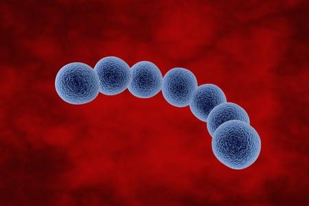 bacterias: Estreptococos tridimensional de dibujo en la sangre, Streptococcus pyogenes, modelo de bacterias, ilustración realista de microbios, los microorganismos, bacterias esféricas