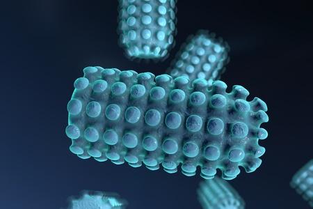 wścieklizna: Tło z wirusami. Wirus wścieklizny, wirus przenoszony przez ukąszenia wściekłego zwierzęcia, realistyczny obraz mikroba, mikroorganizmów, mikroskopem, w kształcie pocisku, wirusów RNA wirusa Zdjęcie Seryjne