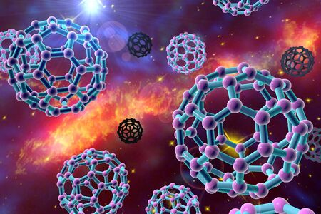 nanoparticle: Nanoparticles on space background. C60 molecule, carbon nanoparticle, buckyball, chemical structure. Elements of this image furnished by NASA