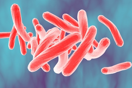 microorganisms: Bacteria. Microscopic view of bacterium Mycobacterium tuberculosis on colorful background, model of bacteria, realistic illustration of microbes, microorganisms, bacterium which causes tuberculosis Stock Photo