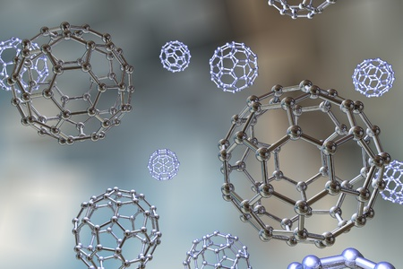 nanoparticle: Background with nanoparticles, C60 molecule, carbon nanoparticle, buckyball, chemical structure