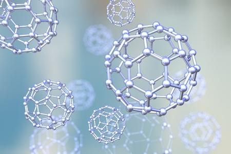 Achtergrond met nanodeeltjes, C60 molecule, koolstof nanodeeltje, buckyball, chemische structuur