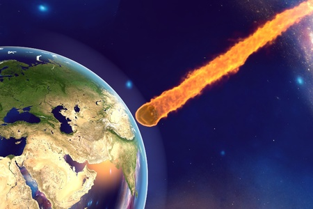 Asteroid approaching to the Earth on background with stars and galaxies, elements of this image furnished by NASA. Space background. Fantastic background. 3D illustration Stock Photo