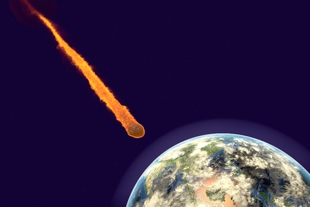 Asteroid approaching to the Earth on background with stars and galaxies. Space background. Fantastic background. 3D illustration
