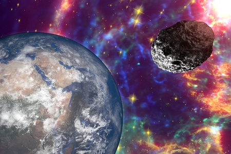 galaxies: Asteroid approaching to the Earth on background with stars and galaxies. Space background. Fantastic background. 3D illustration