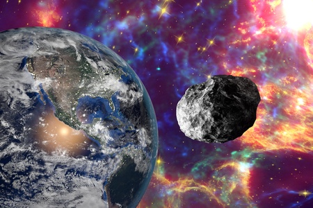 the end of the world: Asteroid approaching to the Earth on background with stars and galaxies. Space background. Fantastic background. 3D illustration