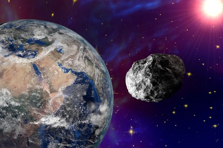 asteroid: Asteroid approaching to the Earth on background with stars and galaxies. Space background. Fantastic background. 3D illustration