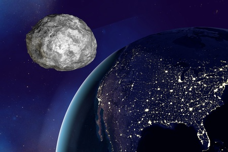 end of the world: Asteroid approaching to the Earth on background with stars and galaxies. Space background. Fantastic background. 3D illustration