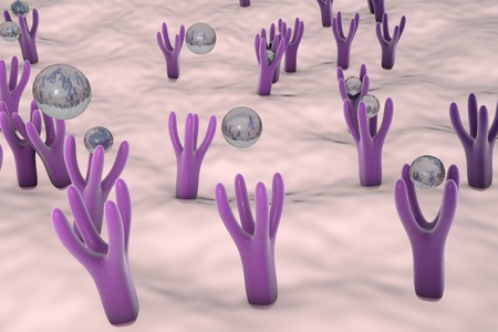 microscopic cellular structure: Membrane of cell surface with receptors and molecules coming to receptors, 3d illustration