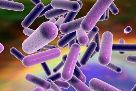 microbiologia: Ilustración 3D de la bacteria en forma de bastón. Ilustración realista de los microbios