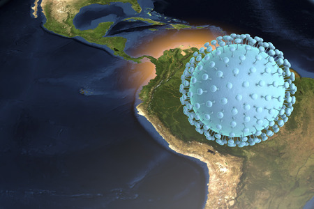 rna: Zika virus and Brazil, 3D illustration. A virus which causes Zika fever found in Brazil and other tropical countries. Zika fever in pregnant women leads to microcephaly in fetus. Elements of image furnished by Nasa Stock Photo