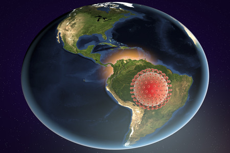 Zika virus and Brazil, 3D illustration. A virus which causes Zika fever found in Brazil and other tropical countries. Zika fever in pregnant women leads to microcephaly in fetus.