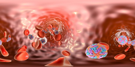 panorama view: 360-degree spherical panorama view of Zika viruses in blood with red blood cells, viruses which cause Zika fever found in Brazil and other tropical countries. 3D illustration