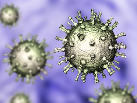 varicela: varicela zoster o virus de la varicela, la ilustración 3D. Un virus del herpes que causa la varicela y shignles