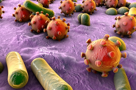 microbes: Microbes of different shapes. Rod-shaped and spherical bacteria and viruses isolated on white background. 3D illustratin