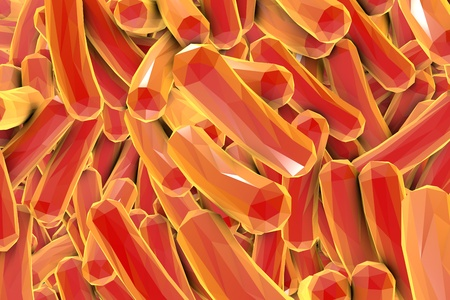 Low polygonal illustration of bacteria, 3D illustration