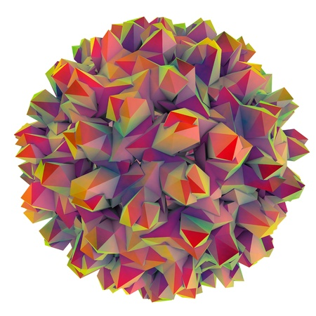 liver cells: Low-polygonal model of virus. Hepatitis B virus. 3D illustration