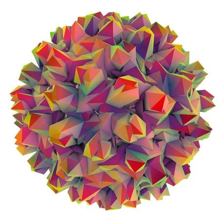 hbv: Low-polygonal model of virus. Hepatitis B virus. 3D illustration