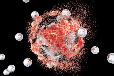 Zerstörung einer Zelltumor durch Nanopartikel. 3D-Darstellung. Kann auch Wirkung von Drogen, Medikamenten, Mikroben zur Veranschaulichung verwendet werden