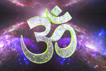 jainism: Hindu word reading Om or Aum symbol on space background, 3D illustration. It is a spiritual icon and a sacred sound in Indian religions, a mantra in Hinduism, Buddhism and Jainism Stock Photo