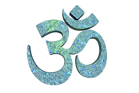 jainism: Hindu word reading Om or Aum symbol, 3D illustration. It is a spiritual icon and a sacred sound in Indian religions, a mantra in Hinduism, Buddhism and Jainism