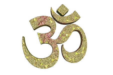 3d aum: Hindu word reading Om or Aum symbol, 3D illustration. It is a spiritual icon and a sacred sound in Indian religions, a mantra in Hinduism, Buddhism and Jainism