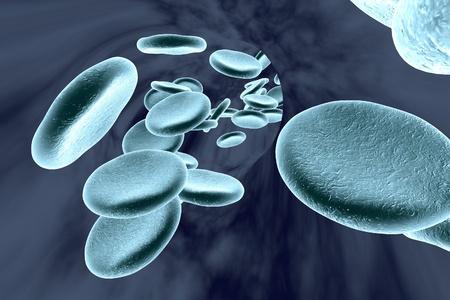 globulo rojo: los vasos sanguíneos con células rojas de la sangre, ilustración 3D