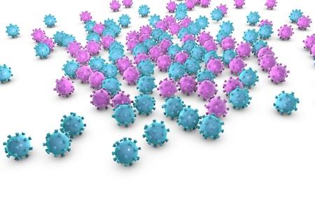 coronavirus: Background with viruses on a plane, 3D illustration