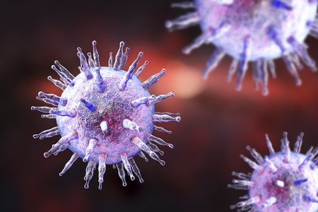 Epstein-Barr virus EBV, a herpes virus which causes infectious mononucleosis and Burkitts lymphoma on colorful background. 3D illustration Stock Photo