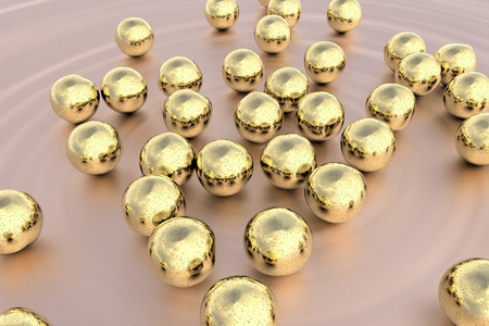 crystalline gold: Gold nanoparticles, 3D illustration. Biotechnological and scientific background