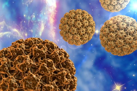 Human papillomaviruses on space background, a virus which causes warts and cervical cancer. 3D illustration. Elements of this image furnished by NASA